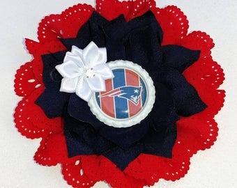 SALE!! New England Patriots Football Double Flower Headbands/Clips/Barrettes