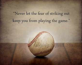 "Baseball Art:  Vintage Baseball Photo Print Featuring a Babe Ruth Quote - Pick Your Size - ""Never let the fear of..."" Boys room decor"