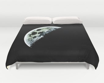 Half Moon Duvet Cover, Black Decorative bedding, unique design, Space, Dorm, science, Noir, Goth, Steampunk, Nature Bedding, Dark Side