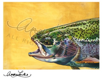 "Oil Rainbow Trout Art Print 8.5""x11"""