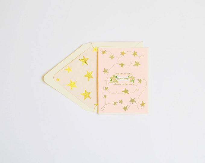 Twinkle Twinkle, Little Star Blush w gold foil stars