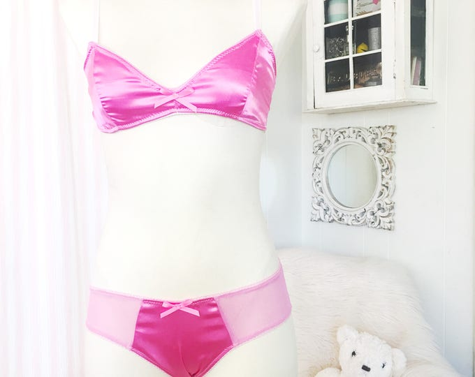 Triangle Bra 'Pink Satin' and low Rise Bikini Brief Panty with mesh
