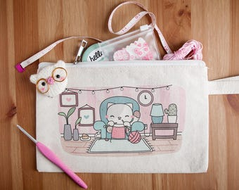 Knitting Kitty Cat Pouch - Mini Pencil Bag with Zipper - Zippered Bag