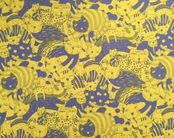 """Moody Cats in yellow on a gray background - 100% cotton oxford - made in Japan - 1/2 yard increments - 60"""" wide"""
