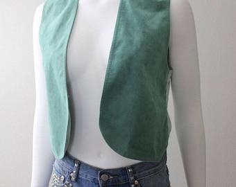 Vintage 70s LILLI ANN Green Ultra Suede Hippie Boho Vest XS S