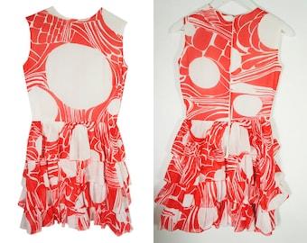 XXS vintage dress 80s - Ruffled dress - light dress - Red and white print - 80s dress -