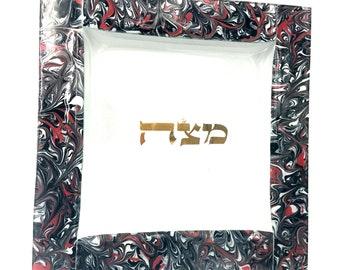 Marbled Black Tomato Matzah Tray
