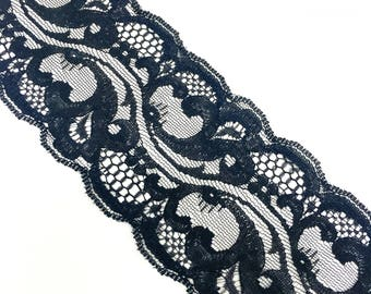"2 3/4"" Black Floral Pattern Lace by Yard"