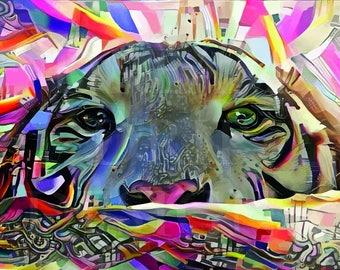 Funky tiger Large Wall Art print Abstract decor Colorful tiger spirit animal graffiti