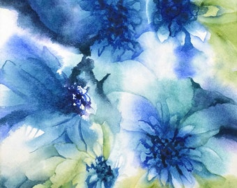 Daisy Painting, Daisy Print Abstract Watercolor Art Botanical Watercolor Painting, Artwork, Flower Art Illustration,Blue Green Teal Wall Art