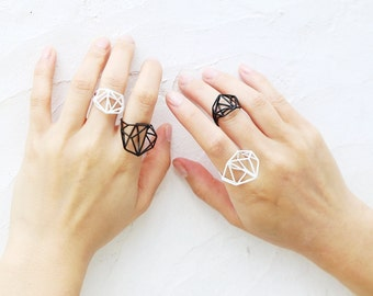 Geometric Minimalist White Ring
