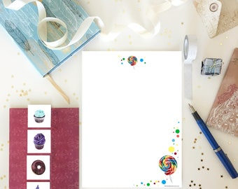 Lollipops Letter Writing Set / Writing Paper Set / Pen Pal Set / Paper Stationery / Letter Set / Notecard Set / Envelopes / Snail Mail Kit