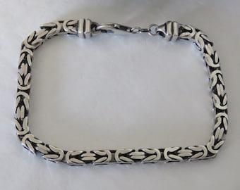 Sterling silver chain bracelet, Byzantine link bracelet, vintage, marked Italy 925, square link, 27.2 grams