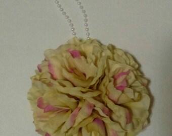 "7.5"" Pink Champagne Rose Flower Pomander Kissing Ball - Pew Bow / Centerpiece /Bouquet / Vintage Decor"