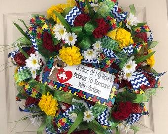 Deco Mesh Wreath for Front Door, Floral Wreath, Autism Wreath, Autism Awareness