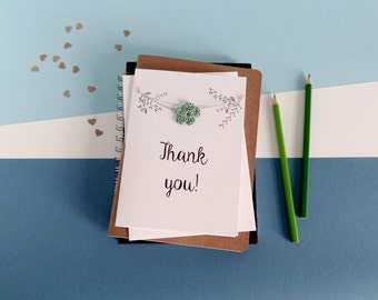 Thank you card - Thanks card - Crochet flowers card - White card