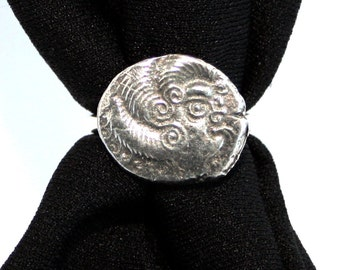 Celtic Coin Scarf Ring, English Pewter, Handmade in Great Britain, replica (wa)