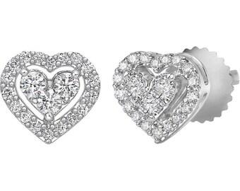 14k White Gold Heart Shaped Round Brilliant Cut Diamond Stud Earrings