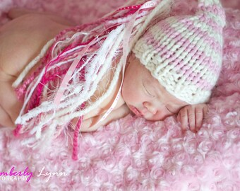 VALENTINE GIRL HAT - Bulky Hand Knit Hat for Baby - Pink and Ivory Stripe  It's a Girl Photography Prop