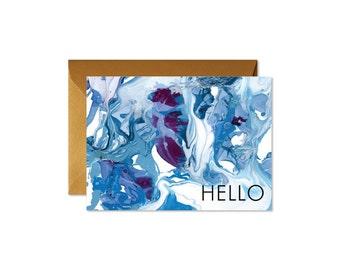 HELLO Indigo + Burgundy Marble Art Notecards + Envelopes Pack | Boxed Set (8) | Abstract | Modern