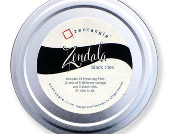 Tin of Black Zendala Tiles, 21 Total, New from Zentangle - Only From a CZT