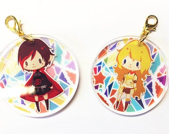 RWBY [FINAL SALE] Ruby Rose Yang Xiao Long Crystal Clear Acrylic Charm, Anime Cellphone Strap Transparent