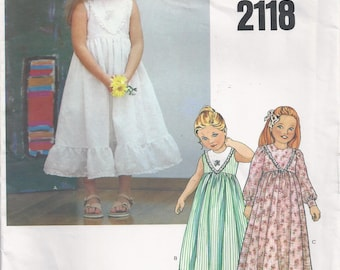 Pullover High Waisted Dress With Fitted Bodice And Flared Skirt Girls Size 5 Childrens Sewing Pattern Little Vogue 2118