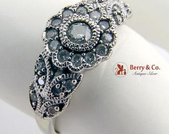 Amazing Platinum Diamond Ring Floral Motif