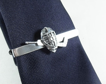 Hockey Goalie Mask and Stick Tie Clip Large  Mens Accessories  Handmade