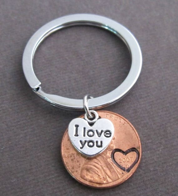 Anniversary Keychain,Couples KeyChain,Anniversary Gift,,Lucky Penny keychain,Personalized Date name keychain,Penny eychain Free Shipping USA