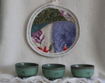 Potholder Circle with Japanese Geisha Feather Stitch