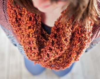 Orange/Gold Variegated Crochet Cowl - Infinity Scarf - Wrap Around - Stylish Winter Accessory - Women's Wear