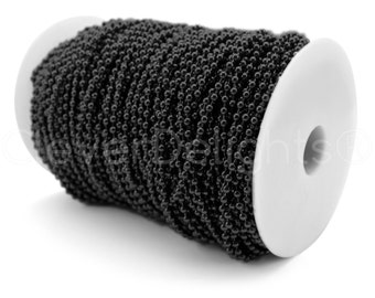 330 Feet - Dark Black 3.2mm Ball Chain Spool + 100 Connectors - For Necklaces, Jewelry, Dog Tags, Pendants - 100 Meters - Bulk Chain Roll
