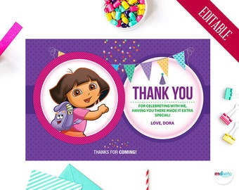 Dora Thank You Card,  Dora The Explorer Birthday Party Theme, Favors, Printables, Decoration, Map, Dora Package, Candy Bar, Download
