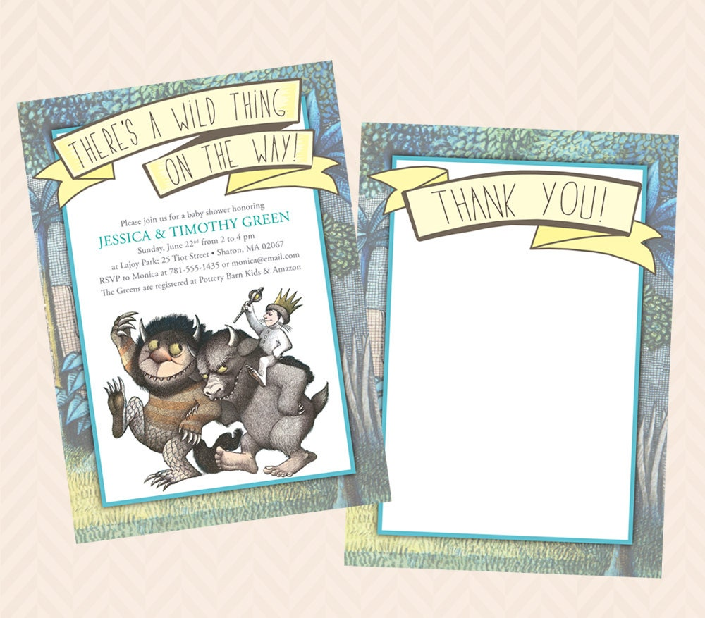 Wild Thing Invitation and Thank You Note Design Baby