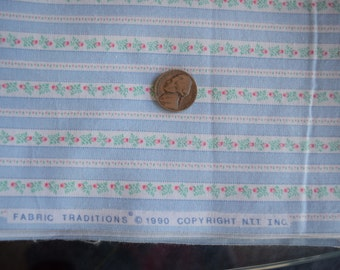 1 yard Rosebuds and Stripes by Fabric traditions