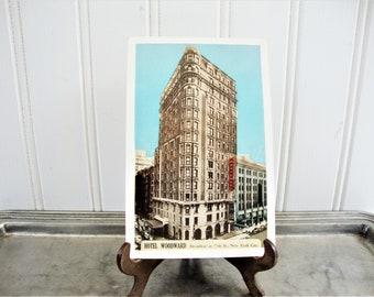vintage NYC woodward hotel postcard broadway at 55th
