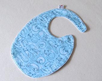 Cat Bib , TODDLER  Bib , blue  bib, cotton flannel bib , fits infant to 2 years plus,  cotton baby bib , unique baby gift