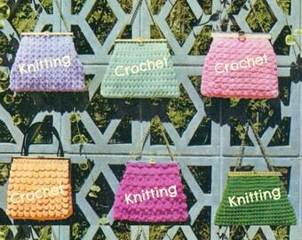 8 KNITTING & CROCHET HANDBAG Patterns Lot Vintage 60s Crochet Bag Pattern Crochet Purse Pattern