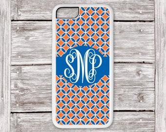 Orange and Blue Monogram Phone Case iPhone, Monogram iPhone Case, Personalized Phone Case, Protective iPhone 7 Plus Case, iPhone 8 Case