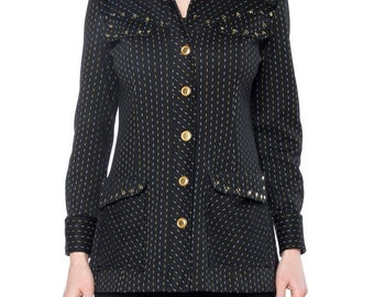 1970s Polyester Studded Jacket With Pinstripes Size: 4-6
