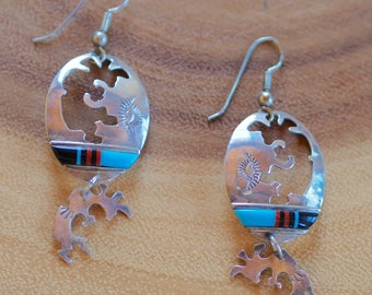 Sun Rising, Inspiring a New Day! South Western, Kokopelli, Sterling Silver Earrings, Turquoise Earrings, Native Jewelry