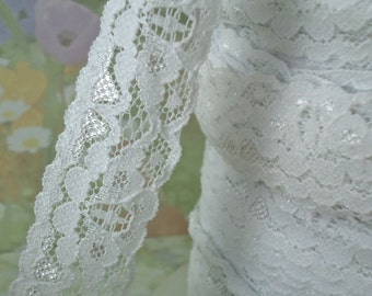 5yds Elastic Lace Ribbon White by the yard Stretch Trim 1 inch Baby Headbands, lingerie Edging