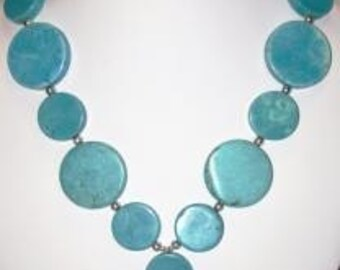 SALE - Chunky Turquoise Blue Coin Necklace - Stone of PEACE  - handmade statement necklace