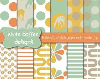Digital paper, Scrapbook Paper, Woodland Themed Paper, Deer, Yellow, Orange, Grey, and Green Paper, Instant Digital Download, Premade pages