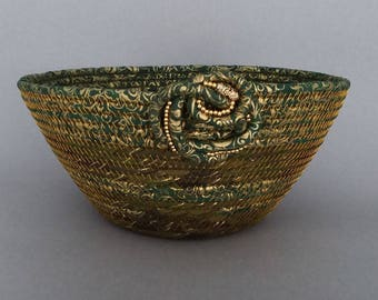 Coiled Basket, Christmas Basket, Fabric Basket, Leaves of Gold
