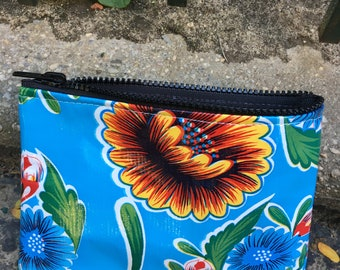 Blue Floral Oil Cloth Zippered Coin Bag, Cosmetic Case, Oil Cloth Pouch,
