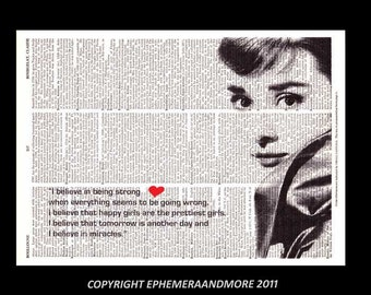 AUDREY HEPBURN art print wall decor Breakfast at Tiffany's I Believe In Being Strong quote vintage dictionary book page movie actor 8x10