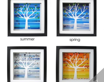 four seasons trees- four different shadowboxes made from recycled magazines, paper cut, winter, spring, summer, fall, leaves, skies, color
