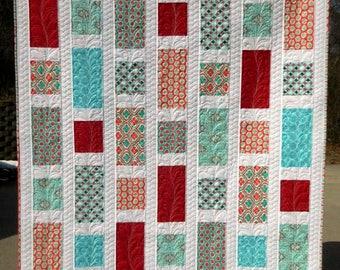 Modern Lap Quilt, Handmade Quilt, Red Quilt, Aqua Quilt, Blue Quilt, White Quilt